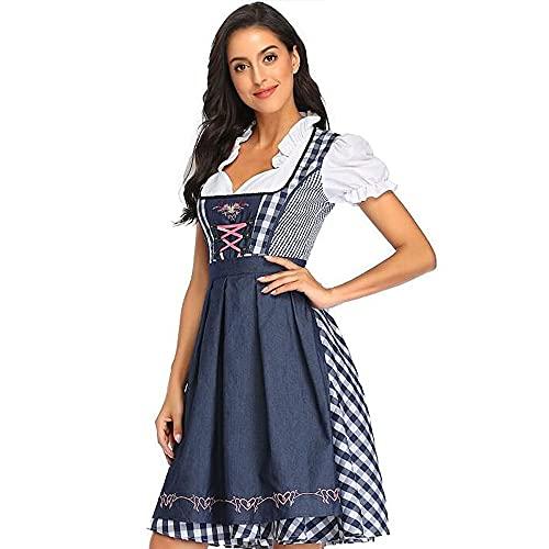 Vertvie Dirndl 3 Teilig Damen Trachtenkleid Dirndl Kleid Partykleider Bayerisches Oktoberfest Midikleider Cosplay Kostüm: Kleid,Bluse,Schürze für Karneval Halloween Baumwolle(A Blau Gitter,L)
