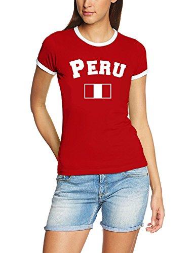 Coole-Fun-T-Shirts Peru T-Shirt Damen Weiss-rot, Gr.S