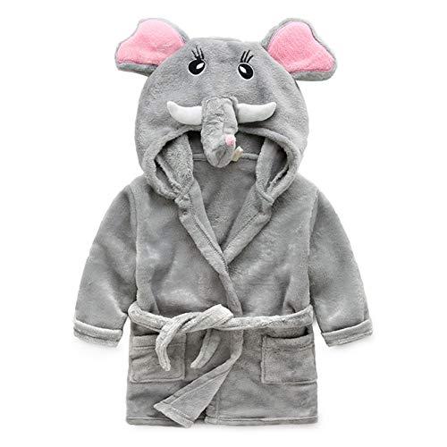 Accappatoio unisex per bambini e bambine, 0-24 mesi, morbido pile di flanella con cappuccio, accappatoio con cappuccio e animale, per neonati e neonati, con elefante grigio 3-4 anni