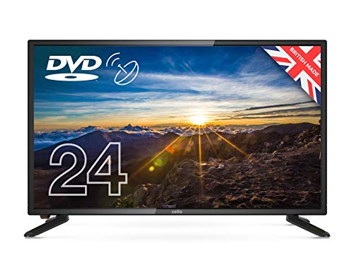 "Cello 12 Volt 24"" ZSF0242-12V TV LED TV/DVD HD Ready and Built In Satellite 2020 Model Made In The UK (New 2020 Model),Black"