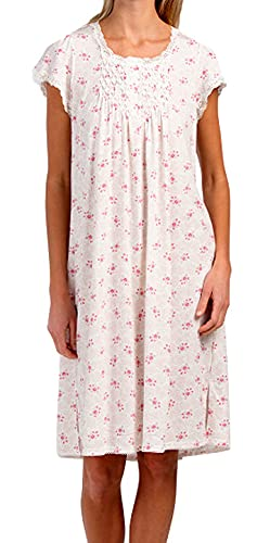 Miss Elaine Women's Short Nightgown (Small Pink Roses/Leaves, Large)