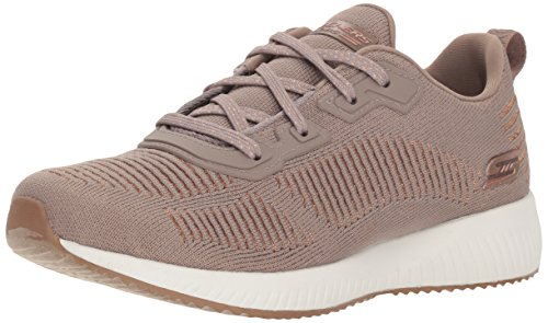 Skechers Bobs Squad - Glam League Sneaker Damen, Beige (Taupe Engineered Knit/Rose Gold Trim Tpe), 36 EU