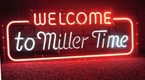 Amymami Beer Elegant Bar 20inx16in Welcome Fashionable to Sign Neon Miller Var Time