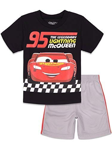Disney Cars Lightning McQueen Toddler Boys T-Shirt and Mesh Shorts Set 2T