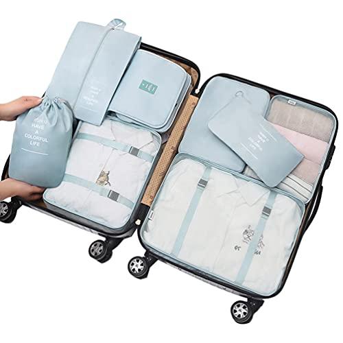 Ketamyy - Set di 8 cubi da viaggio per imballaggio, organizer per bagagli, borse a compressione, per vestiti, articoli da toeletta, valigie, scarpe, campeggio, colore: Azzurro