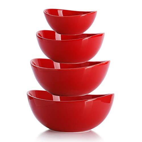 Sweese 105.104 Schüssel 4er Set aus Porzellan, 280 ml, 500 ml, 800 ml und 1000 ml, Verwenden Sie als Salatschale, Müslischale, Suppenschale, Dessertschale, Rührschale, Servierschale, Rot