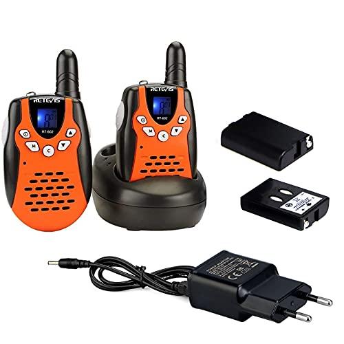 Retevis RT602 Walkie Talkie Kinder 8 Kanäle Funkgerät mit Wiederaufladbare Akkus Taschenlampe Vox LCD-Display Walki Talki Spielzeug Spy-Gear Kinder Geschenke (1 Paar, Orange)