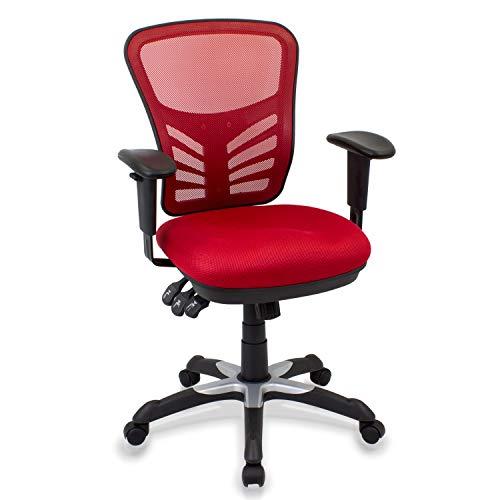 CashOffice - Silla de Escritorio Ergonómica, Silla de Oficina Giratoria con Respaldo, Asiento y Reposabrazos Regulables (Rojo)