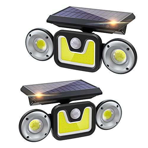 Focos Led Exterior Solares 2 Piezas, Ltteeny Luz Solar Exterior 83 LED-450 Lúmenes, 2400mAh Reflector de 270 ° con 3 modos, Focos Solares IP65