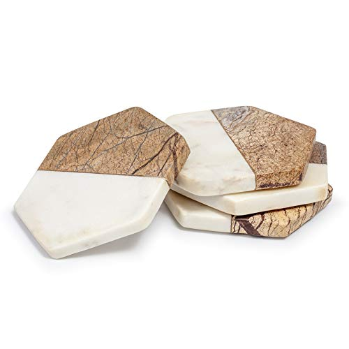 EHC Set di 4 sottobicchieri esagonali in marmo marrone e crema per uso domestico, in cucina o in ufficio