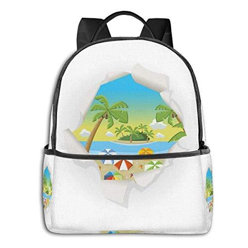Schultasche doppelte Schwarze Rucksäcke, zerrissenes Papier Effekt tropischen Strand mit Ocean Umbrellas Palm und Kokospalmen drucken, lässig Wandern Travel Daypack 12 '5' 14,5 'LWH