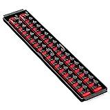 Ernst Manufacturing 19-Inch Socket Boss 2-Rail 1/2-Inch-Drive Socket Organizer, Red (8454)