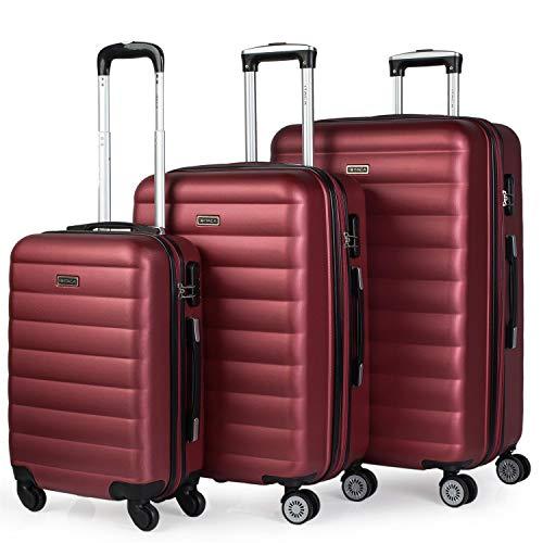 ITACA - Juego de Maletas de Viaje Rígidas 4 Ruedas Trolley 55/65/75 cm ABS. Extensibles. Cómodas Prácticas y Ligeras. 3 Tamaños Pequeña Mediana y Grande. Calidad y Precio. 71200, Color Granate