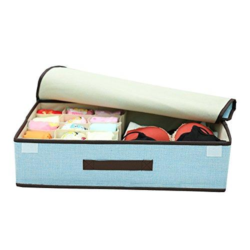 pet-lifeeling Multifunktions-Aufbewahrungsbox für Kleidung, Unterwäsche, faltbar, tragbar, Kleiderschrank, Unterwäsche, mit staubdichtem Deckel blau