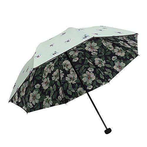 Mode Blume Sonnencreme Regenschirm SPF 50+ Damen Sonnenschirm Sonnenschutz UV-Schutz Damen Doppelter Winddichter Regenschirm (blau) (Farbe : Grün)