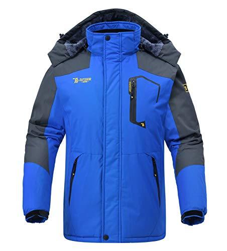 Rdruko Men's Winter Snow Jacket Coat Waterproof Windproof Insulated Ski Snowboard Fleece Jacket(Blue, US M)