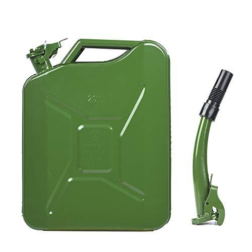 Durlclth Bidon de gaz de pétrole-5 gallons jerrycan 20L Acier Huile gaz bidon dessence Diesel Tambour dhuile + Tube dhuile