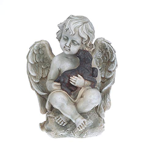 Topadorn Angel Wings with A Little Dog in Arms, Ceramic Statue, Angel Figurine Tabletop Decor Design Display