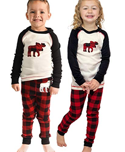 Lazy One Matching Family Pajama Sets for Adults, Teens, and Kids (Moose Plaid, 2T)