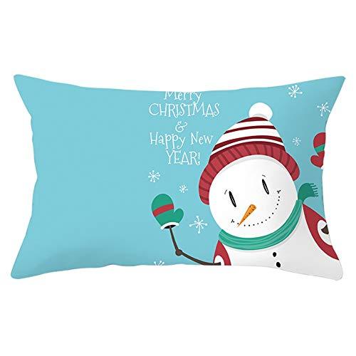 Fodere per Cuscini Divano Pupazzo di neve di Natale Decorativi in Velluto Morbido Fodere per Cuscino Rettangolo per Arredamento Casa Camera da Letto Auto Copricuscini Y6893 Pillowcase,50x70cm