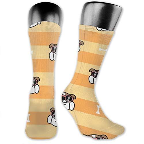 Calcetines de anime lindo, inglés, bulldog, con gafas de sol, de dibujos animados, suaves, de secado rápido, transpirables, calcetines deportivos, unisex, calcetines de tripulación de 39,7 cm
