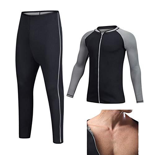 Trajes de Sudoración Hombres Reductora Adelgazante Pérdida de Peso para Deporte Fitness Entrenamiento de Cintura,Negro,M