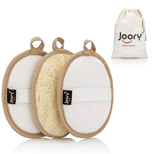 Egyptian Natural Loofah Exfoliating Body Scrubber 3-Pack – Shower Sponges for Men and Women – Eco-Friendly Oval Bath and Body Exfoliators with Palm Straps, Cotton Backing Pads and Linen Carry Bag