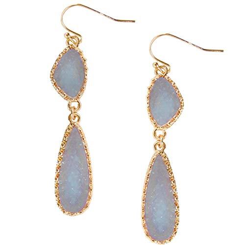 Humble Chic Simulated Druzy Drop Dangles - Long Double Teardrop Dangly Earrings for Women, Periwinkle, Dusty Slate Blue, Sky Blue-Purple, Lavender, Gold-Tone
