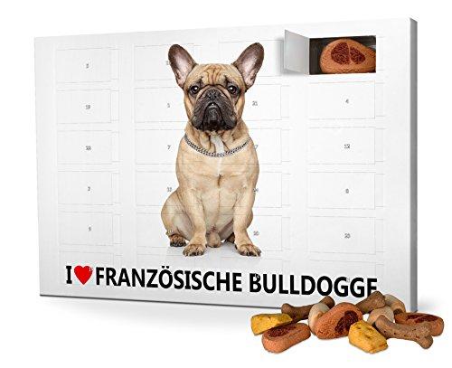 printplanet Hunde-Adventskalender mit Leckerlis - Motiv I Love Französische Bulldogge - Weihnachtskalender für Hunde - 2020