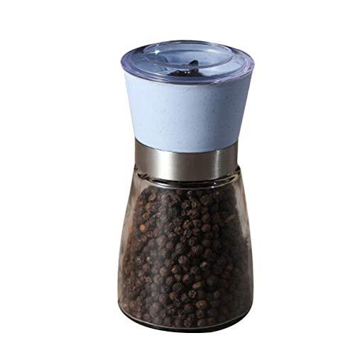 BESTONZON Creative Manual Pepper Grinder Salt Shaker Professional Glass Bottle Pepper Mill Cruet Kitchen Supplies (Blue)