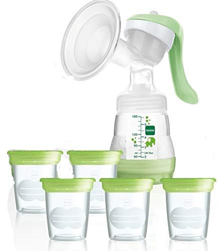 MAM Set Stillen - Milchpumpe inkl. Aufbewahrungsbecher für Muttermilch + Geschenk