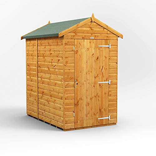 POWER | 6x4 Windowless Apex Wooden Garden Shed | Shiplap Sheds | Super Fast Delivery | Size 6 x 4