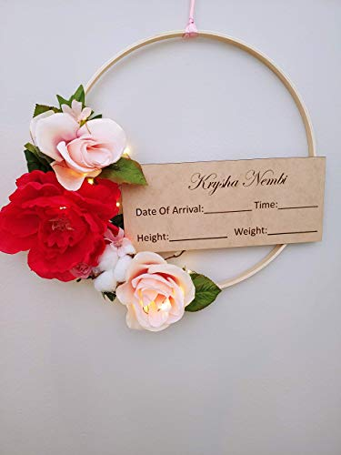 Personalized Floral Lighted Baby Girl Hospital Door Hanger Sign Wreath Baby Shower Gift Birth Sign Door Hanger Pink Birth Announcement