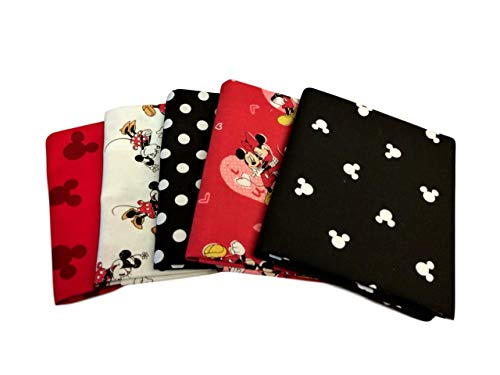 Fat Quarter Bundle Set 5 Disney Mickey Minnie Mouse Love Ears Fabric Stack