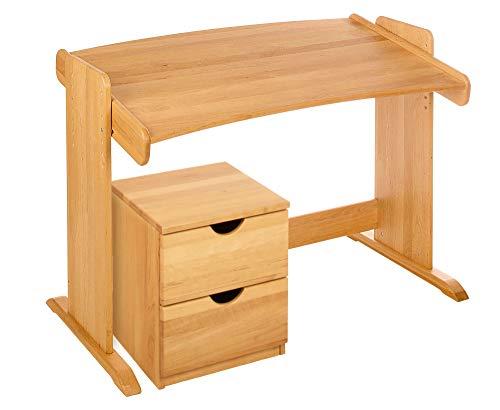 BioKinder 22811 Spar-Set Julia Kinderschreibtisch Schreibtisch für Kinder und Rollcontainer aus Massivholz Erle