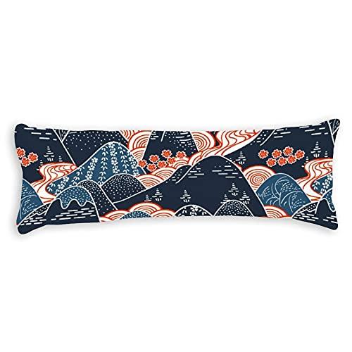 Promini Funda de almohada para el cuerpo botánico de la montaña japonesa moderna funda de almohada con cierre de cremallera oculta para sofá, banco, cama, decoración del hogar, 50,8 x 137,2 cm