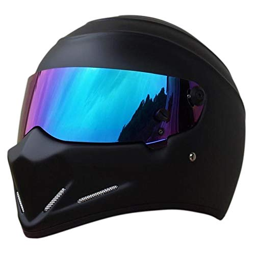 LEAGUE&CO Motorrad Helmets Helm Motorradhelm Helmets Alien Integralhelm Visier Offroad Racing Motocross für Honda Yamaha Suzuki Kawasaki Bandit Helm (L, Schwarz (Getönte))
