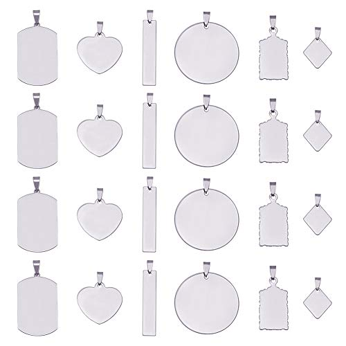 BENECREAT 30PCS Mixed Stainless Steel Blanks Stamping Pendants Charms with Black Velvet Bag Clear Storage Box for Necklace Bracelet Making and ID Name Tags, 1mm Thick