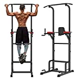 Cozy Castle Power Tower Workout Dip Station, Pull Up Bar for Home Gym Strength Training Fitness Equipment, Adjustable Multi-Function Dip Station, 500LBS