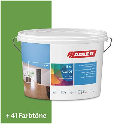 ADLER Ultra-Color Wandfarbe - Volltonfarbe und Abtönfarbe in 100+ Farbtönen - RAL6018 Gelbgrün Grün 1 l Atmungsaktiv, Hochdeckend, Lösungsmittelfrei