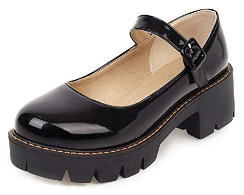 SHEMEE Damen Rockabilly Schuhe Mary Jane High Heels Plateau Pumps mit Riemchen und Blockabsatz 5cm Absatz Gothic Lolita Cosplay Schuhe(Schwarz,41)
