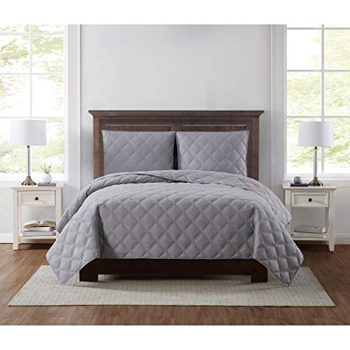 Truly Soft Everyday 3D Puff Quilt Set, King, Grey