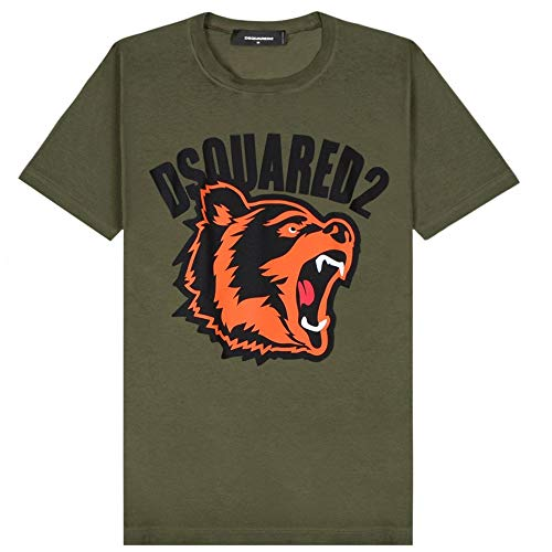 Dsquared2 T-Shirt con Logo dell'orso Stampato Green Extra Extra Large