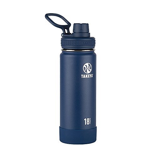 Takeya Actives Insulated Stainless Steel Water Bottle with Spout Lid, 18 oz, Midnight