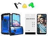for Motorola Moto E (2020) XT2052DL / Moto E7 Metal Jacket Hybrid Case Phone Cover + Tempered Glass + Extreme Band + Stylus Pen + Pry Tool (Blue)