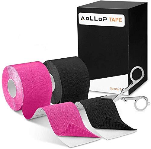 2 Rollen Kinesiologie Tape, Aollop Physio Tape Sports Tape Elastische Bandage (1Schwarz+1Pink)