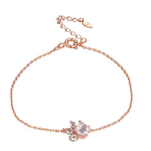 Amesii Bracelet en forme de patte de chat et de chien avec strass - Bijou pour fête de mariage, cadeau d'anniversaire pour femme ou fille - Or rose