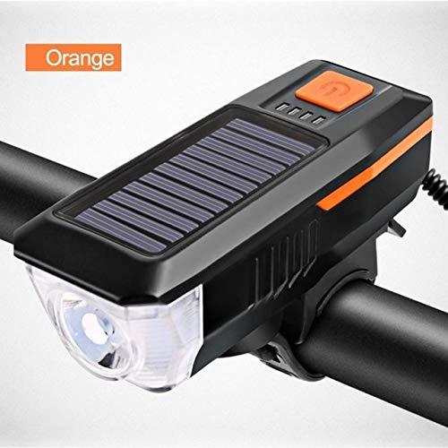 QFWN Fahrradklingel mit Licht Wiederaufladbare Solar Power 3 Modi Frontleuchte Solarenergie Lampe Fahrrad-Zyklus Taschenlampe (Color : Orange)