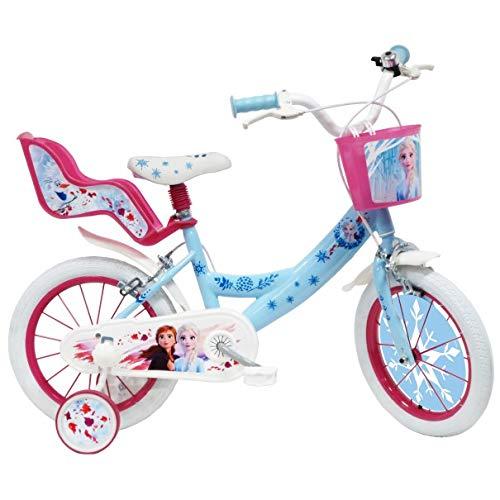La Reine des Neiges 2 - Vélo Enfant Fille La Reine des Neiges 2-14 Pouces (3/5 Ans) - Coloris Bleu/Rose - (Distributeur Officiel)