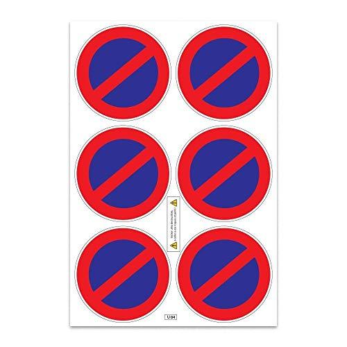 Planche A4 de stickers ultra-destructible stationnement interdit - U14